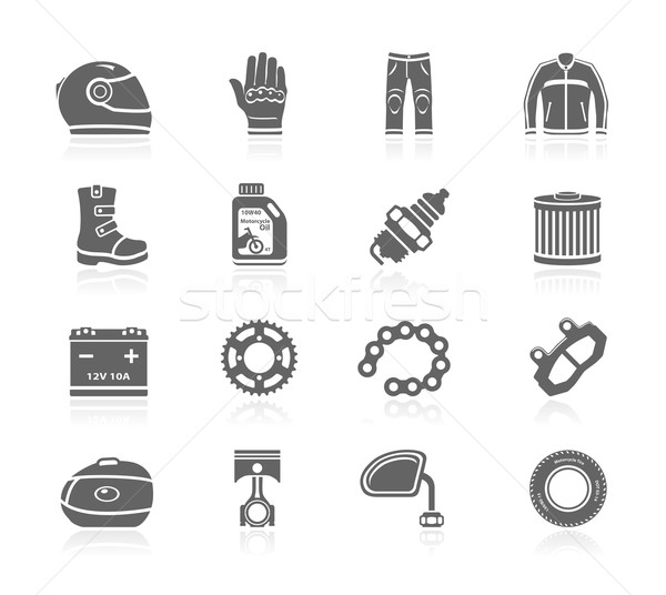 Preto ícones motocicleta engrenagem cadeia Foto stock © zelimirz