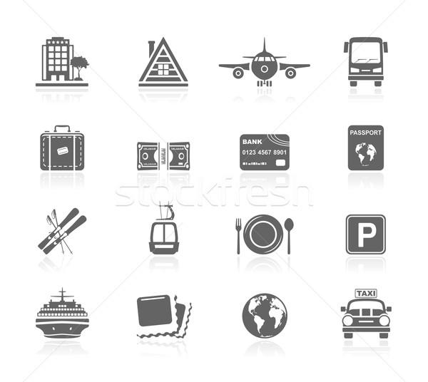 Preto ícones férias viajar dinheiro quadro Foto stock © zelimirz