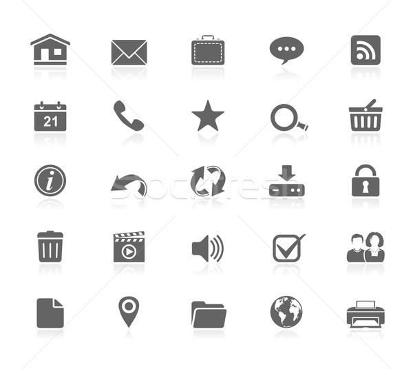 Zwarte iconen web universeel web icons huis Stockfoto © zelimirz