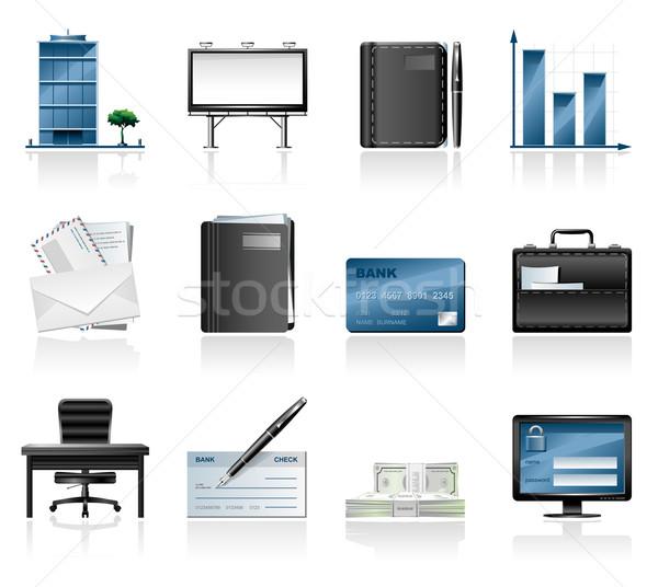 Business Symbole Büro Tabelle Stuhl Schreibtisch Stock foto © zelimirz