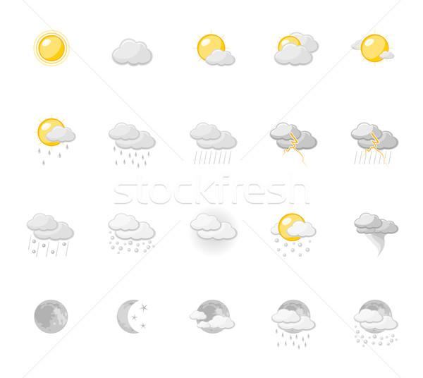 Tempo ícones sol neve nuvem Foto stock © zelimirz