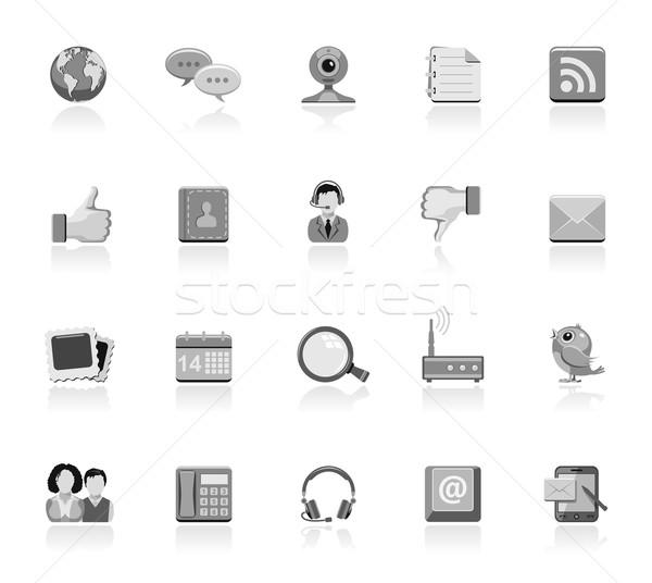 Comunicação ícones simples globo pássaro calendário Foto stock © zelimirz