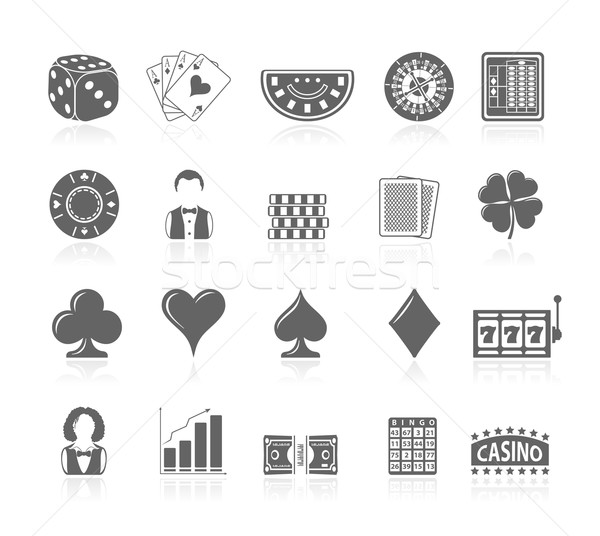 Black Icons - Gambling Stock photo © zelimirz