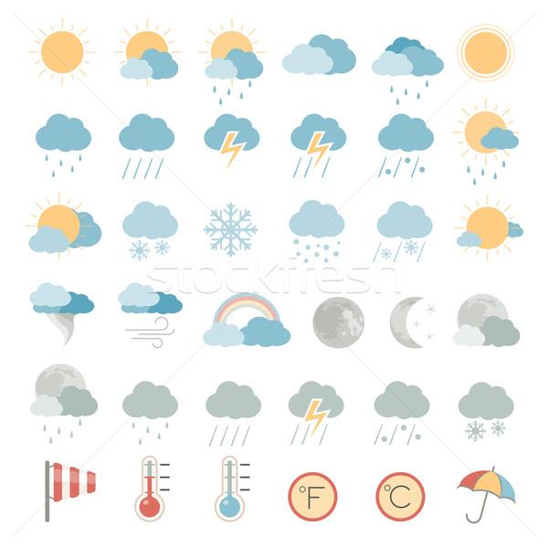 ícones tempo chuva nuvem tornado simples Foto stock © zelimirz