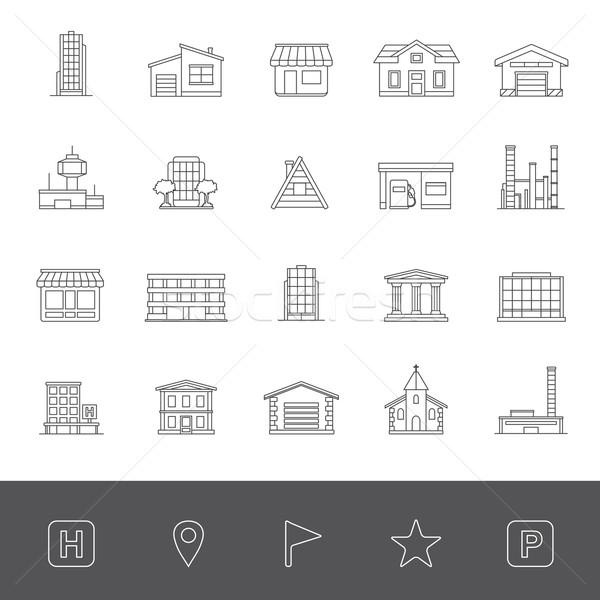 Linha ícones edifícios casa edifício hospital Foto stock © zelimirz