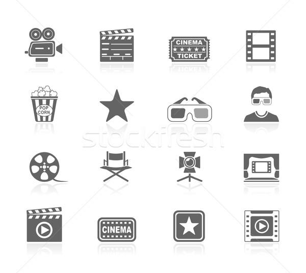 Black Icons - Cinema Stock photo © zelimirz