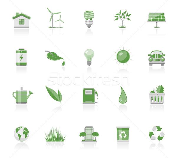 Eco ícones ecologia árvore sol energia Foto stock © zelimirz