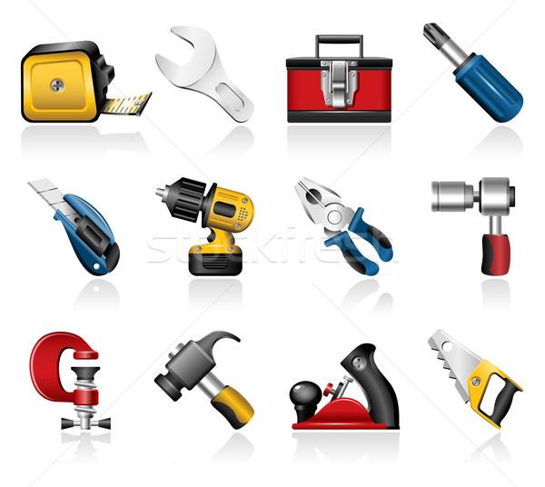 Tools hand iconen mes hamer Stockfoto © zelimirz