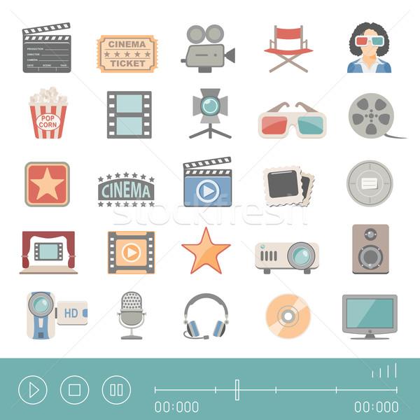 ícones cinema filme microfone alto-falante Foto stock © zelimirz