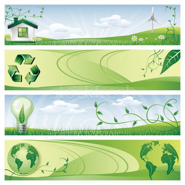 Eco banners groene wereldbol natuur Stockfoto © zelimirz