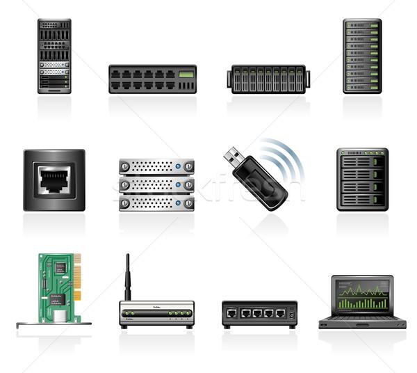 Rete hardware icone tecnologia wireless connessione Foto d'archivio © zelimirz