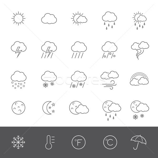 Linha ícones tempo chuva nuvem guarda-chuva Foto stock © zelimirz