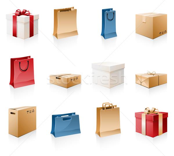 Zakken dozen papier vak zak geschenk Stockfoto © zelimirz