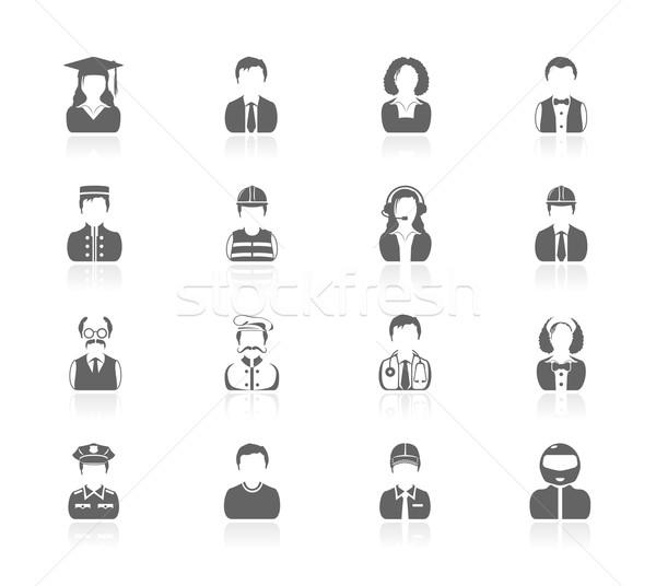 Preto ícones pessoas homem chef trabalhador Foto stock © zelimirz