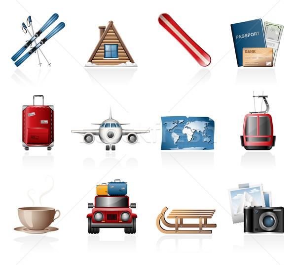 Winter vakantie iconen geld auto Stockfoto © zelimirz