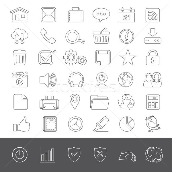 Lijn iconen web universeel web icons internet Stockfoto © zelimirz