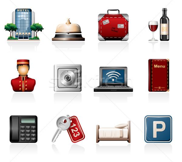 Hotel ícones vinho assinar chave Foto stock © zelimirz