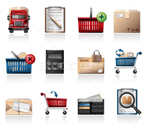 Compras ícones dinheiro laptop telefone Foto stock © zelimirz