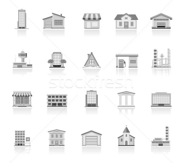 Gebouwen eenvoudige iconen huis gebouw ziekenhuis Stockfoto © zelimirz