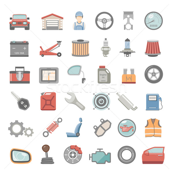 Flat Icons - Car Maintenance Stock photo © zelimirz