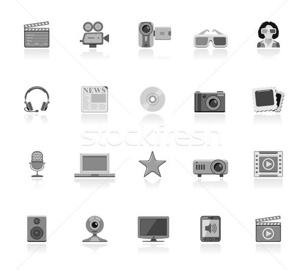 Multimédia ikon gyűjtemény ikonok televízió film keret Stock fotó © zelimirz