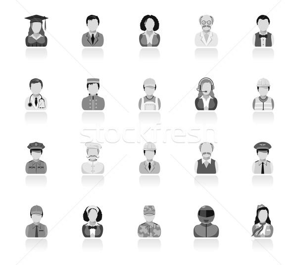 Pessoas ícones homem chef trabalhador Foto stock © zelimirz