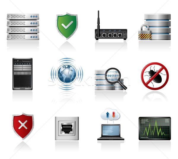 Rede ícones segurança internet laptop servidor Foto stock © zelimirz