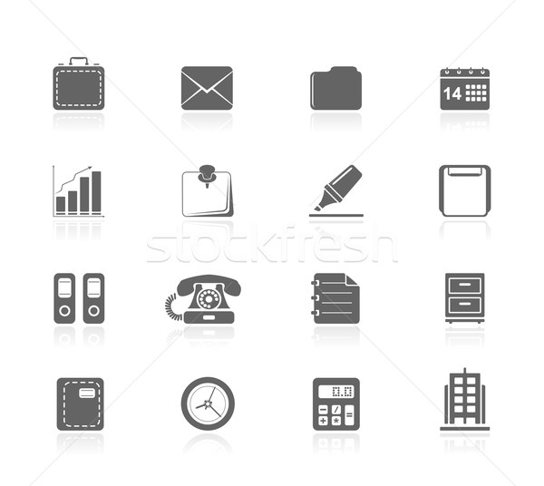 Zwarte iconen kantoor business gebouw kalender Stockfoto © zelimirz