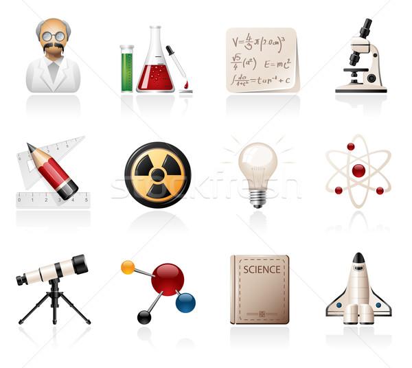 Ciência ícones livro lápis química Foto stock © zelimirz