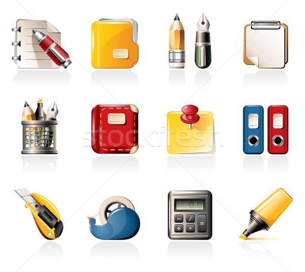 Kantoor iconen leveren potlood vak calculator Stockfoto © zelimirz