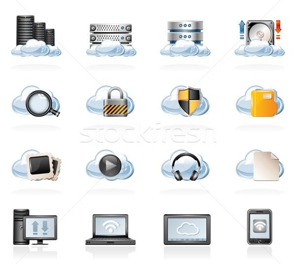 Iconen computer netwerk communicatie Stockfoto © zelimirz
