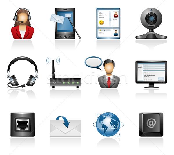 Comunicação ícones fones de ouvido envelope conexão Foto stock © zelimirz