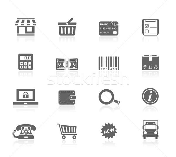 Preto ícones compras dinheiro laptop telefone Foto stock © zelimirz