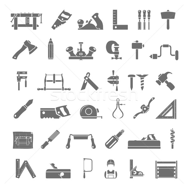 Black Icons - Traditional Woodworking Stock photo © zelimirz