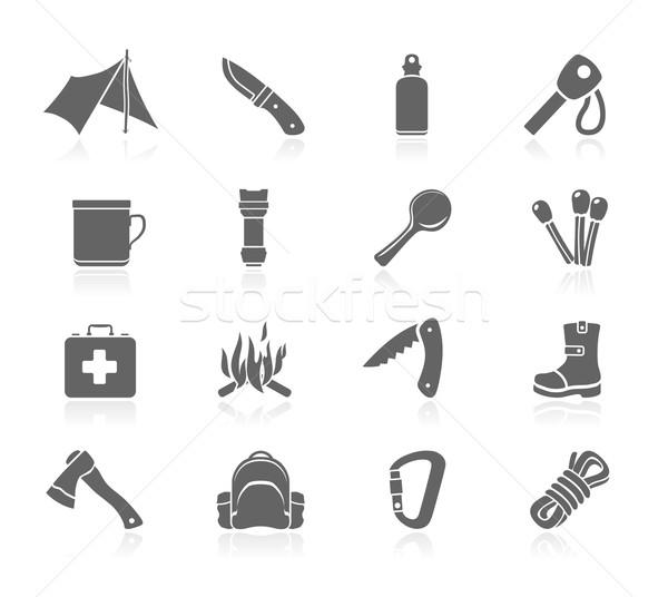 Preto ícones ao ar livre água fogo faca Foto stock © zelimirz