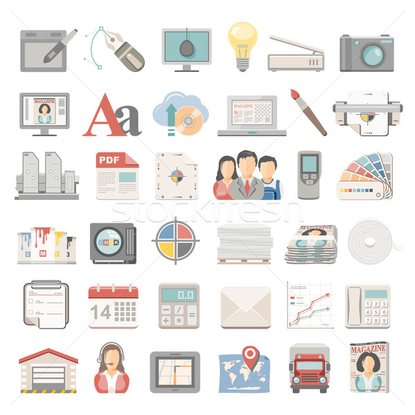 Flat Icons - Offset Printing Stock photo © zelimirz