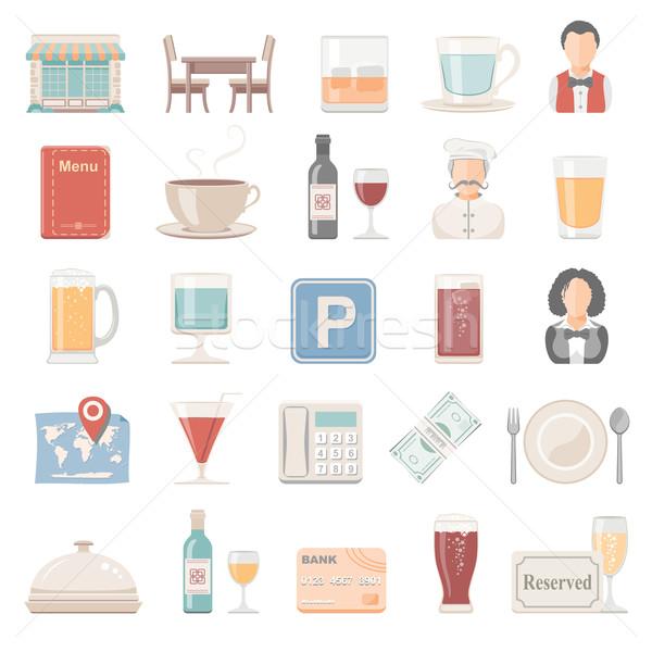 ícones restaurante vinho café cadeira chá Foto stock © zelimirz