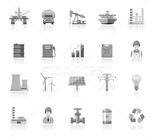Indústria energia ícones navio trabalhador Foto stock © zelimirz
