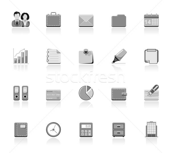 Business iconen eenvoudige kantoor gebouw pen Stockfoto © zelimirz