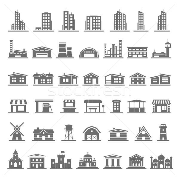 Preto ícones edifícios casa edifício Foto stock © zelimirz