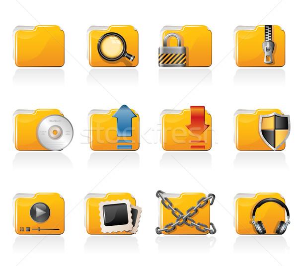 Map iconen hoofdtelefoon document bestand Stockfoto © zelimirz