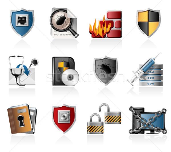 Segurança rede ícones cadeia dobrador Foto stock © zelimirz