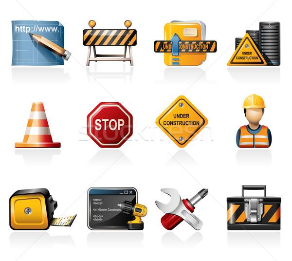 Bouw iconen weg server netwerk werknemer Stockfoto © zelimirz