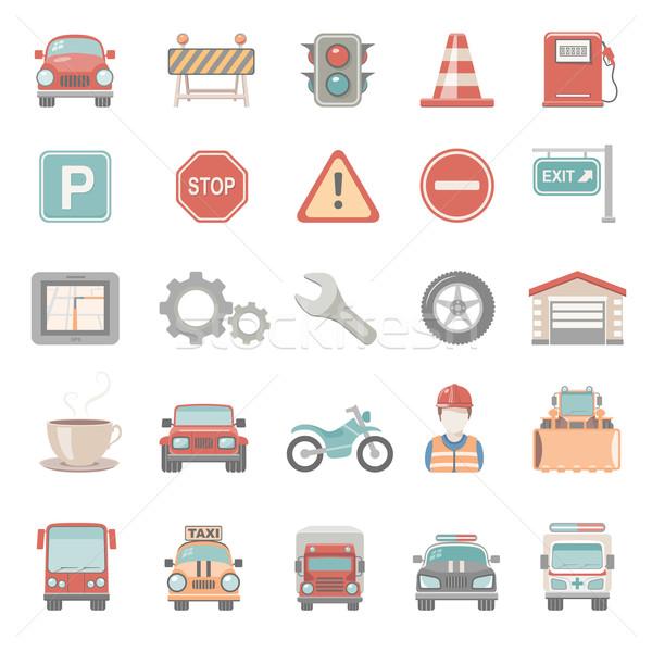 Iconen verkeer auto bouw teken politie Stockfoto © zelimirz