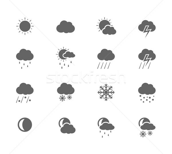 Zwarte iconen weer zon sneeuw wolk Stockfoto © zelimirz