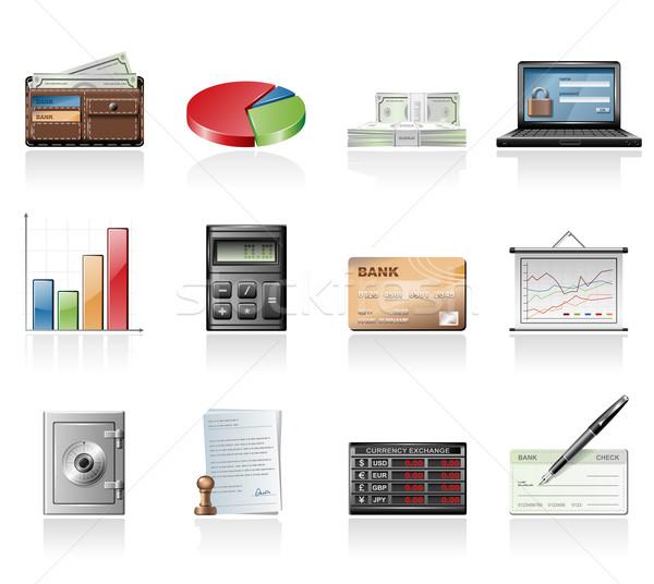 Financiar ícones negócio gráfico cartão de crédito traçar Foto stock © zelimirz
