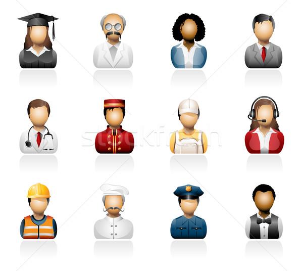 Pessoas ícones homem médico estudante Foto stock © zelimirz