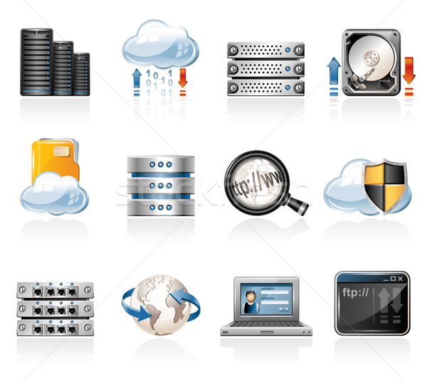 Web Hosting iconos Internet red datos Foto stock © zelimirz
