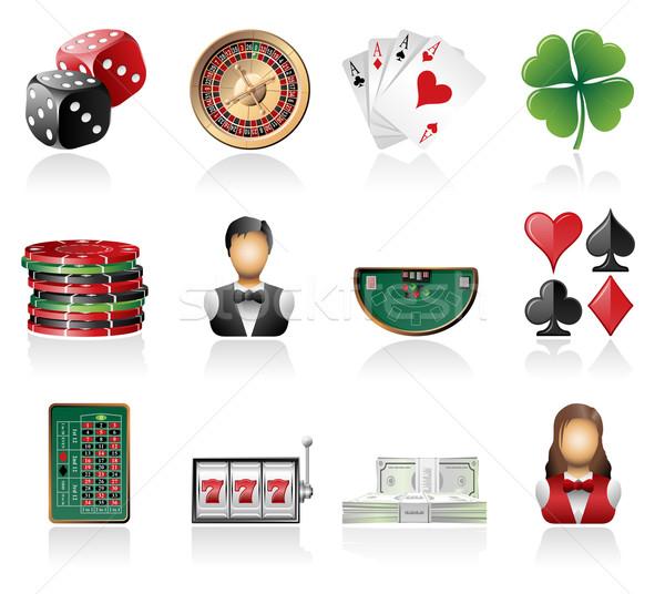 Jogos de azar ícones dinheiro cassino cartões Foto stock © zelimirz