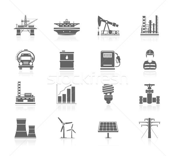 Zwarte iconen industrie energie schip werknemer Stockfoto © zelimirz